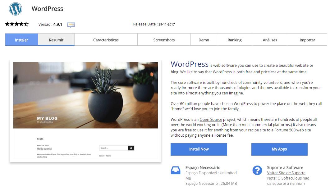 Instalar o WordPress com o Softaculous