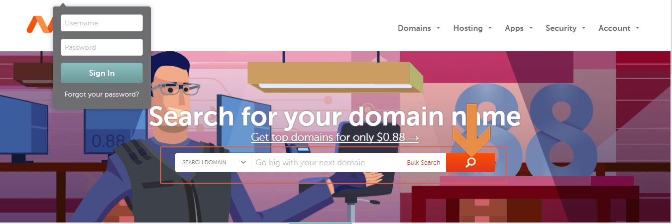 pesquisar domínio - namecheap - criar blog